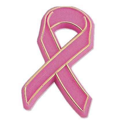 Pink Ribbon Plastic Breast Cancer Awareness Lapel Pins