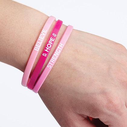 Breast Cancer Awareness Mini Silicone Bracelet Trio Set