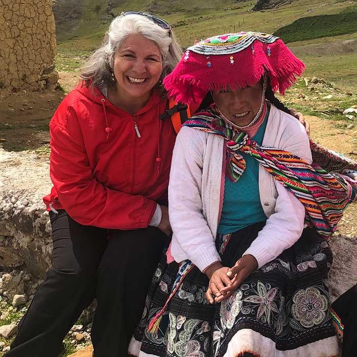 Celeste in Peru with Quechuan Elder