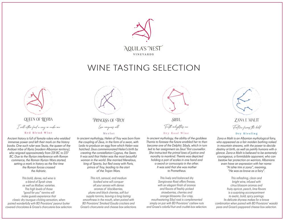 Aquila's Nest Vineyards Curated Wine Tasting Menu