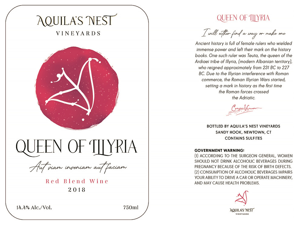 Aquila's Nest Vineyards Queen of Illyria Red Blend Wine Label