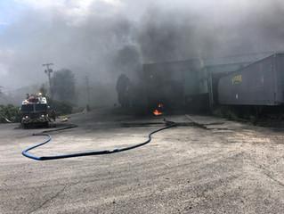Three Alarm Fire   Interstate Island Rd.   Lakeside