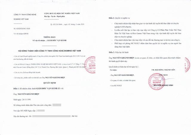Quyết định bổ nhiệm Izumin vào vị trí Giám đốc Vận hành GAM Esports. |JP88