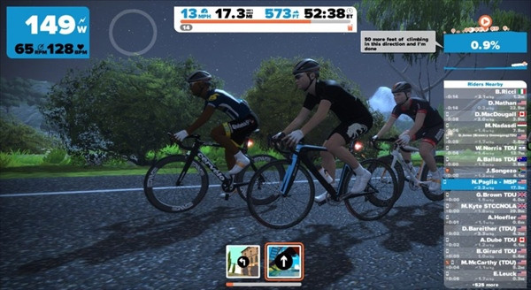 Mô phỏng cuộc đua trên hệ thống Zwift.  JP88