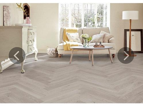 Herringbone Engineered European Select Oak Flooring 14mm x 130mm Marzipan Lacque
