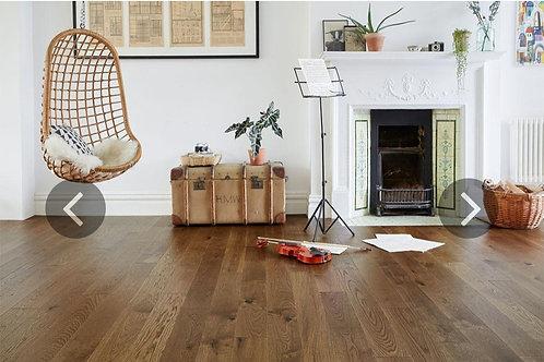 Engineered European Rustic Oak Flooring 14mm x 130mm Brown Sugar Lacquered