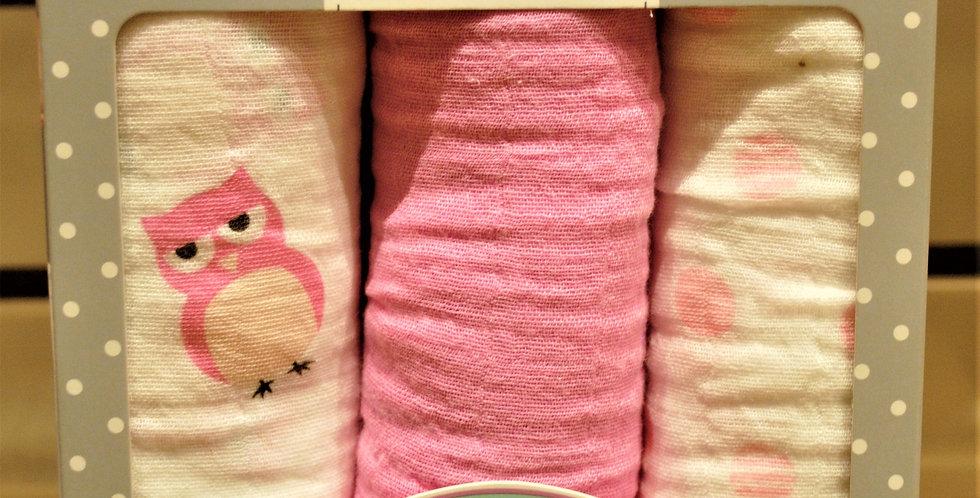 Mini musln cloths - pink owl