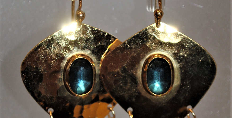 Earrings - Golden diamond bead dangle