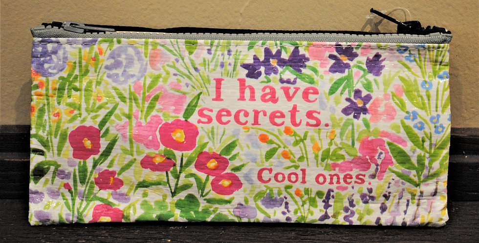 Zipper pencil style pouch - I have secrets