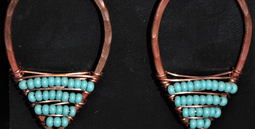 Earrings - Copper with turqoise