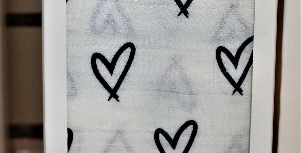 Bamboo muslin blanket - black hearts