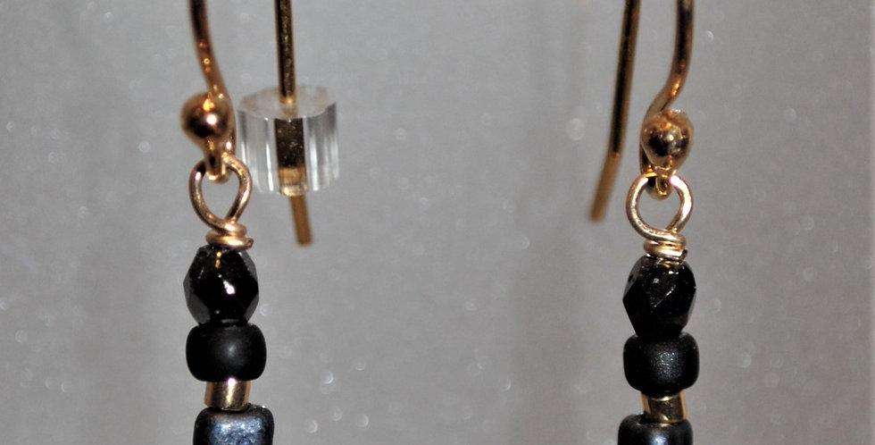 Earrings - Black bead dangle