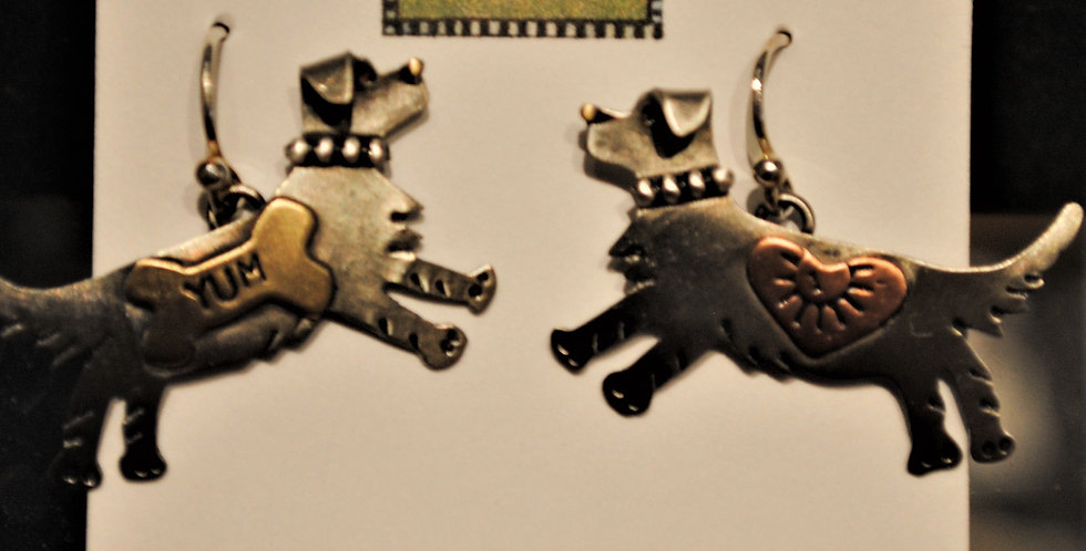 Earrings - dog dangle - yum