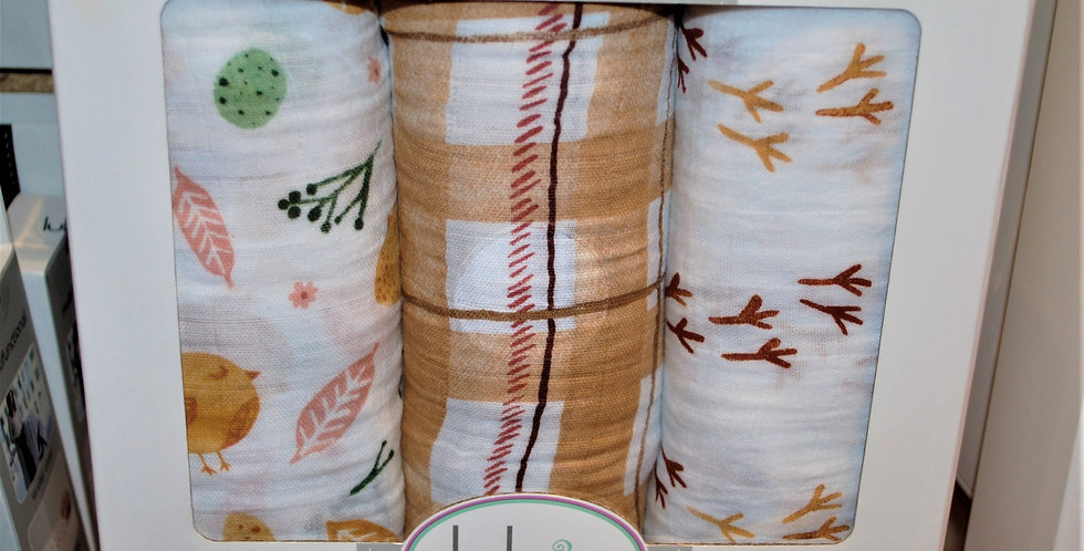 Cotton muslin swaddle blankets - woodlands chic