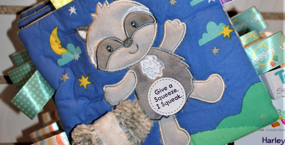 Taggles soft baby book - Harley Racoon