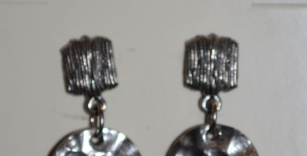 Earrings - Hammered silver