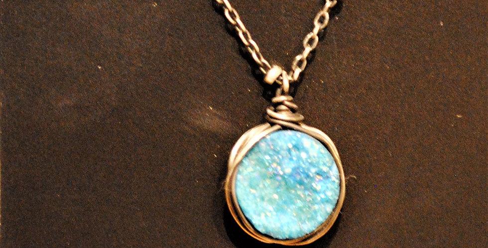 Necklace - green druzy stone