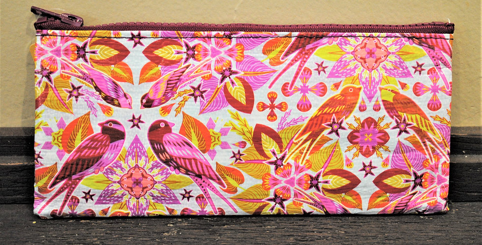 Zipper pencil style pouch - Pink birds