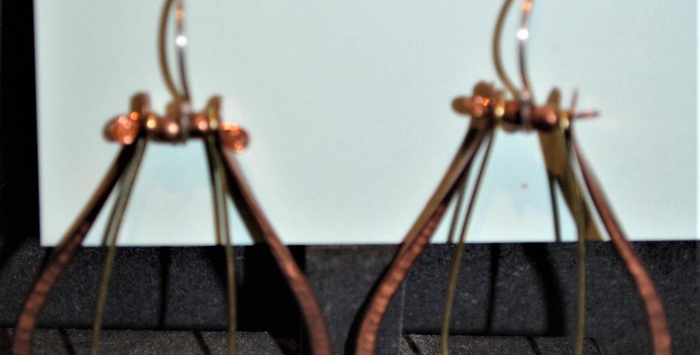 Earrings - Teardrop dangle with blue/orange bead inner dangle