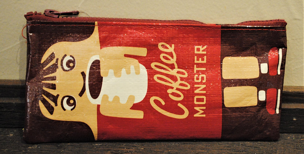 Zipper pencil style pouch - Coffee monster