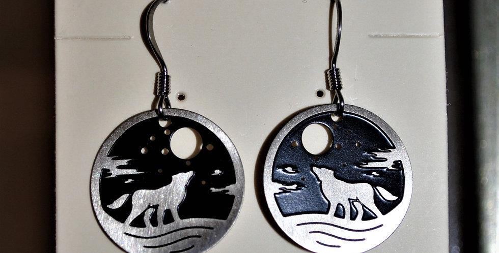 Earrings - moon wolf
