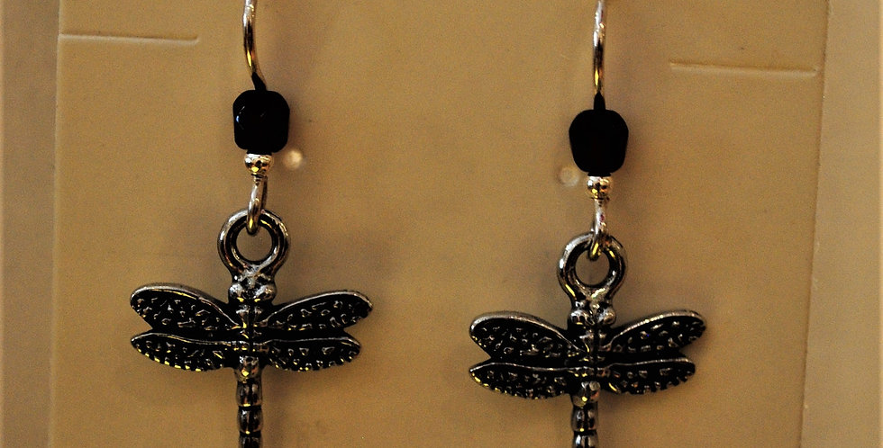Earrings - dragonfly with blue bead