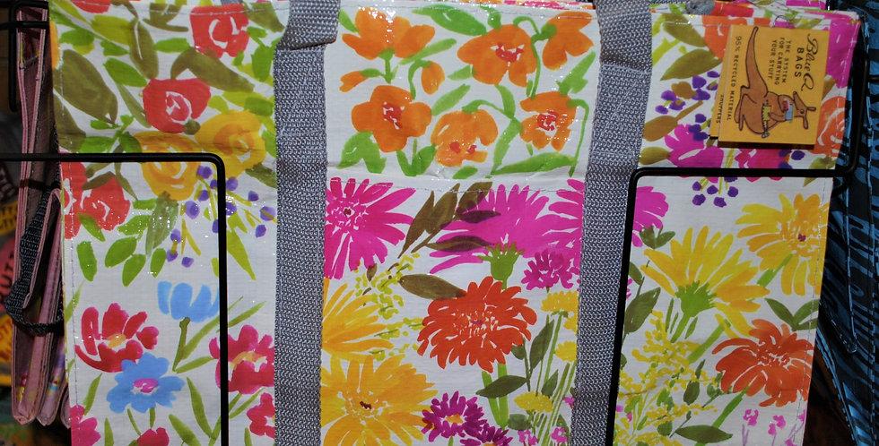 Shoulder zipper tote - Flower garden
