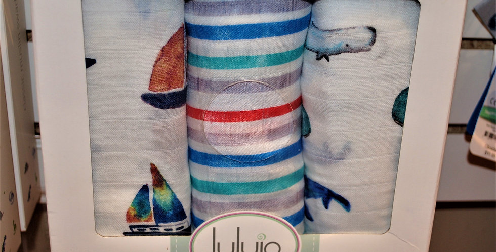 Bamboo cotton blend swaddle blankets - by the sea