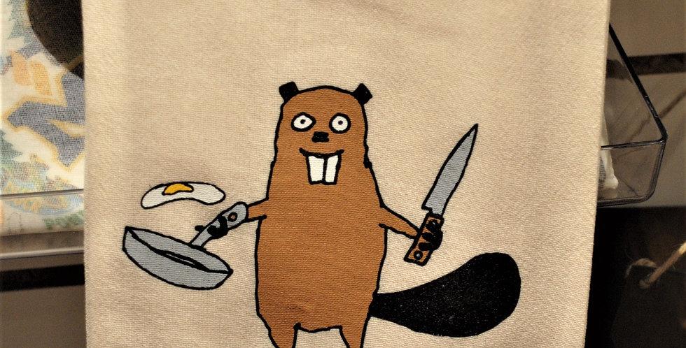 Flour sack tea towel - Beaver