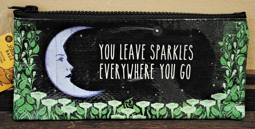 Zipper pencil style pouch -  You leave sparkles...