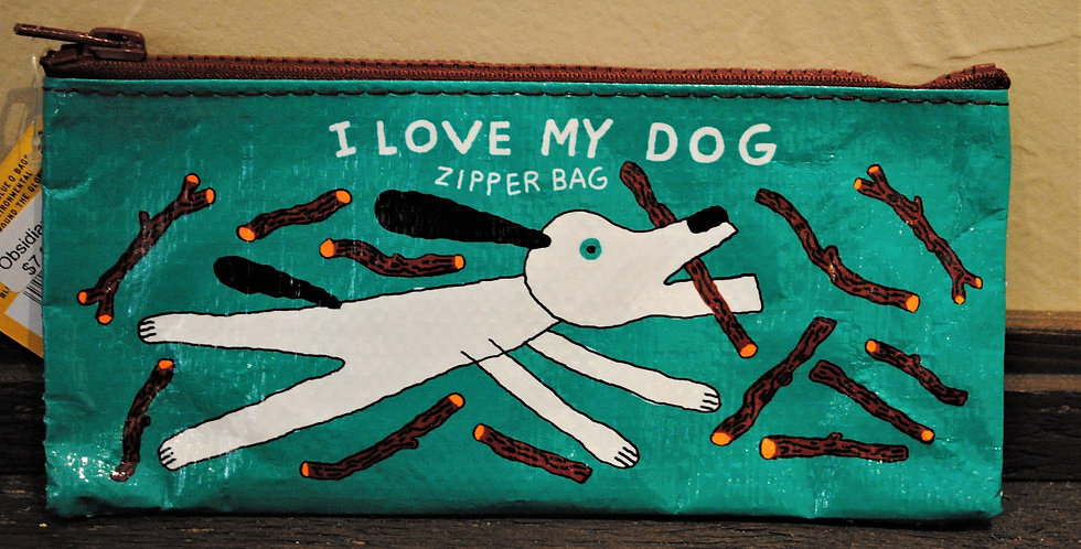 Zipper pencil style pouch - I love my dog