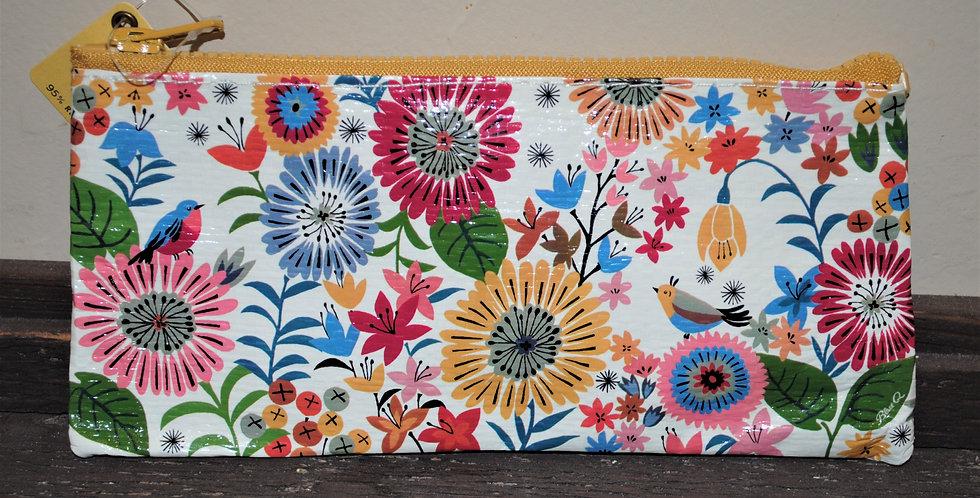 Zipper pencil style pouch - Flower field