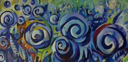Flors sobre blau