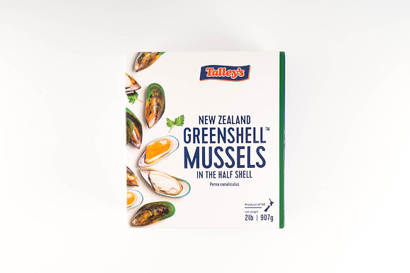 Talley's  New Zealand 1/2 Shell Mussels Cooked 1KG (Approx 37) (12)