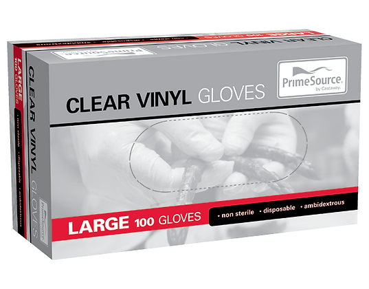 PrimeSource® Large Vinyl Gloves Lightly Powdered Clear (100's)