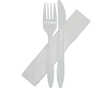 Plastic Knife, Fork & Paper Napkin Combo-Pak® White (500's)