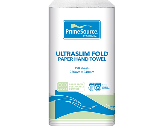 Eco-Clean® Ultra Slim Fold Paper Hand Towel PrimeSource® White 250mmx240mm (16)