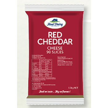 Real Dairy Sliced Red Cheddar 90's 1.5KG (8)
