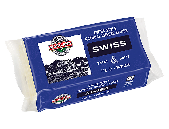 Mainland Swiss Sliced Cheese 1kg (34 slices)
