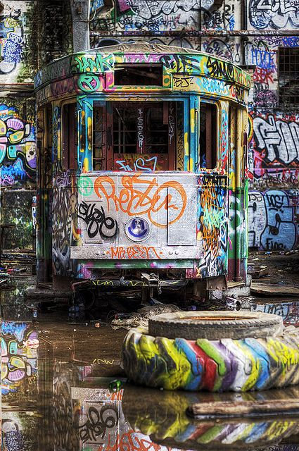 Tram - colorful a tyre