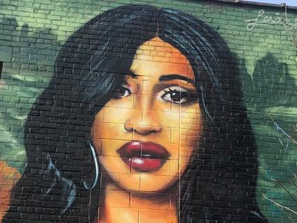 """""""Cardi Lisa"""" Art wall in Bushwick"""