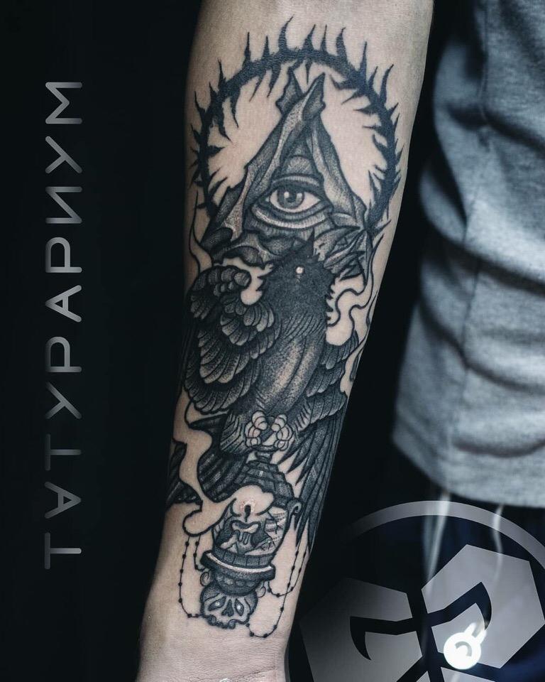 Фото татуировки, ворон, всевидяшее око н