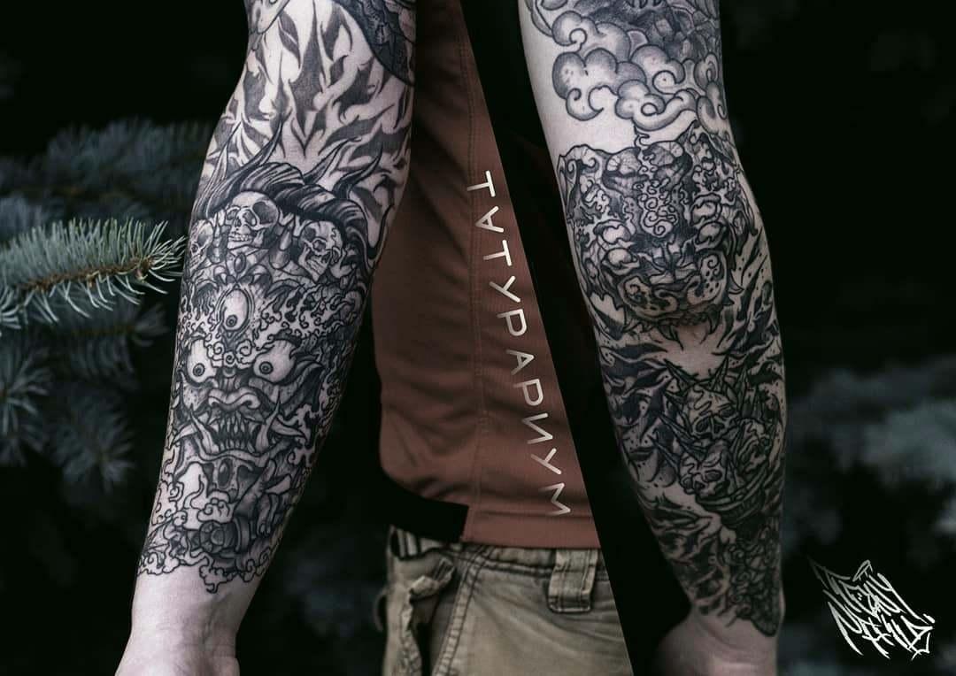 Фото татуировки, рукав с демонами у мужч