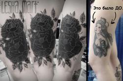 Фото татуировки, перекрытие гейши на ног