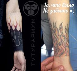 Фото татуировки, коррекция тарой татуиро