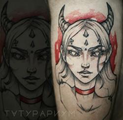Фото татуировки, девушка демон на ноге,
