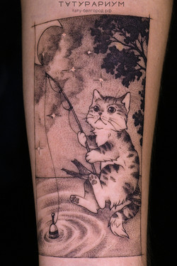 татуировка котика-рыбака, в стиле график