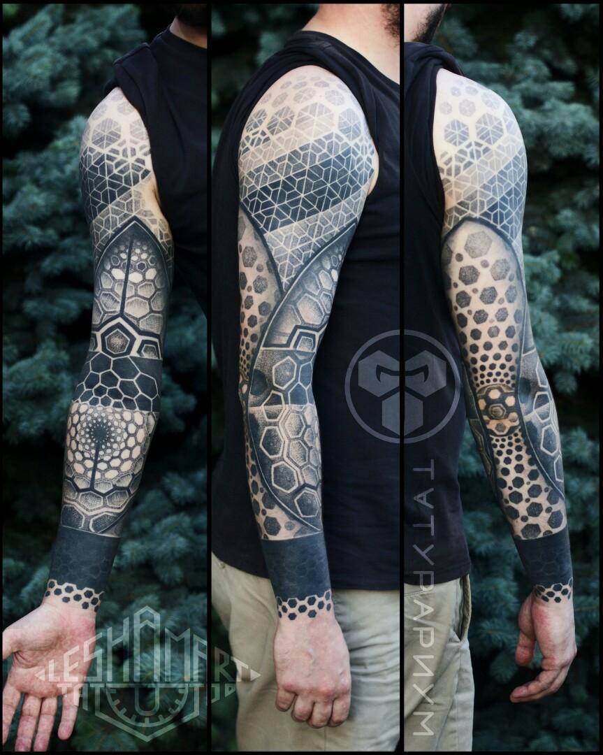 Фото татуировки, орнаментальный рукав у