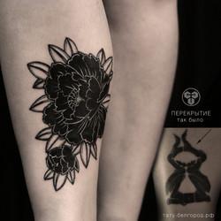Фото татуировки, перекрытие не ноге у де