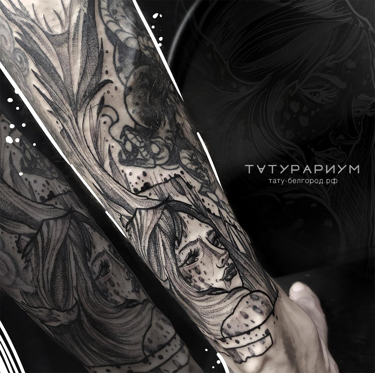 Фото татуировки, портрет девушки в стиле